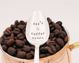 dad's Coffee Spoon Hand Stamped , Stamped Silverware, Stamped Flatware, Silver Plated Spoon, Fathers Day Gift, Gift for dad, Under 20