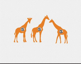 giraffe monogram frame svg dxf file instant download silhouette cameo cricut clip art commercial use