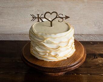 Arrow Wood Cake Topper, Wedding Cake Topper, Rustic Cake Topper