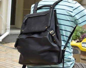 Black backpack, Leather backpack black, Black leather backpack, Black backpack leather, Black rucksack, Leather rucksack, Rucksack leather