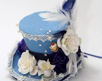 Mini hat Blue Alice in wonderland mad hatter harajuku cosplay lolita gothic