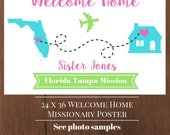 LDS Missionary Welcome Home Poster/ Banner with map (digital file)