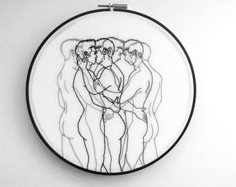 "Embroidery art ""Motion"" / Embroidery hoop art / Gay art"