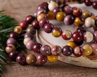 Multi Color MOOKAITE JASPER Power Bracelet - Mookaite Jasper, Mookaite Jewelry, Mookaite Bracelet, Mookaite Bead Bracelet E0583
