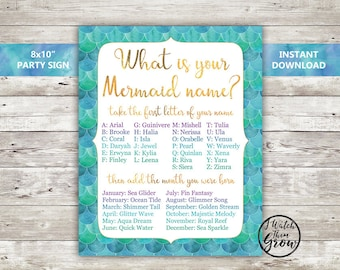 """Mermaid Party Game, Printable """"What's Your Mermaid Name"""" Game, Mermaid Birthday Party Poster, Mermaid Name Sign 8x10 Inch INSTANT DOWNLOAD"""