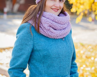 Infinity scarf hat Beanie and cowl Pink infinity scarf Lilac cowl scarf Super knitted Lilac beanie Lilac winter set Winter cowl and hat Cowl
