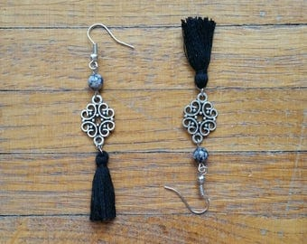 Black tassels earrings