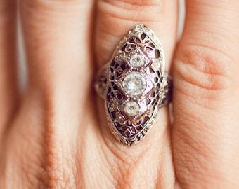 Vintage Art Deco Estate Sterling Silver Filigree Ring Size 6