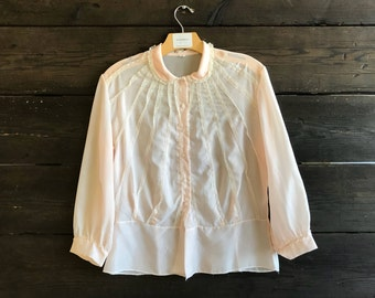 Vintage 50s/60s Blush Lace Trim Blouse
