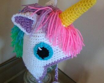 Baby Unicorn Hat / 1-3 Years / Crochet / Handmade / Rainbow / Birthday Gift Idea / Winter Beanie / Animal Character Hat / Silly Fun Unique