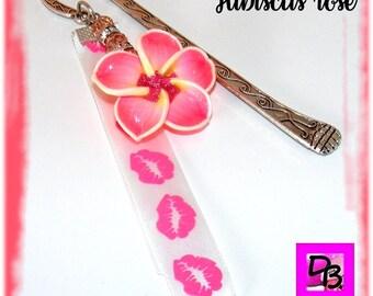 Bookmarks # decoration # # hibiscus flower # Ribbon # mouth # lips # satin # polymer # # # # Crystal Czech rhinestone bead