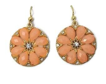 Peach Earrings, Medallion Earrings, Dangle Earrings, Flower Earrings, Round Earrings, Rhinestone Earrings, Fashion Earrings