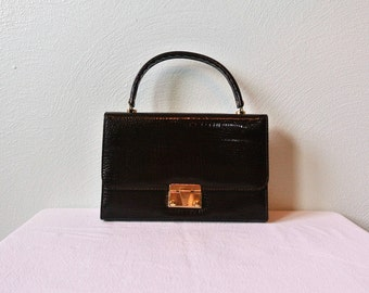 60s/70s Patent Leather Croc Embossed Handbag