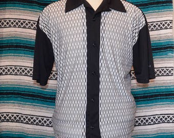 BC Ethic Button Front Bowling Shirt Polyester Large Swinger Rockabily