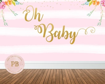 Digital Oh Baby Baby Shower Backdrop, Oh baby Banner, Oh Baby Party, Digital Backdrop, Photography Backdrop, Sweet Table Backdrop