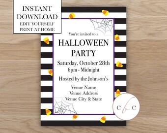 DIY Printable Halloween Invite - Holiday/Editable/Digital Download