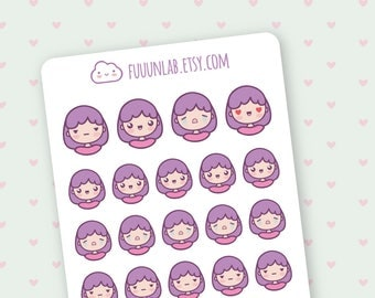 Emoji planner Stickers, violet stickers, cute happy character for your planner, 24 stickers for Filofax kikki k webster's pages - M003 -