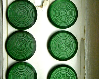 Vintage Matte Green Swril Coat Buttons