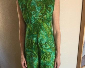 Green Paisley Print Jumpsuit Romper 1970
