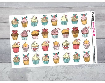 Christmas Cupcake Stickers, Cupcake Stickers, Dessert Stickers, Christmas Stickers, Baking Stickers, Decor Stickers, Candy Stickers