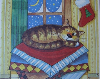 "Cat Christmas Cards-""Merry Christmas!""-Christmas greeting card with cat-Post Card with Cat-Blank inside"