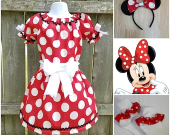 Minnie Mouse Costume, Minnie Mouse Set, Minnie Mouse Halloween, Minnie Mouse Birthday, Minnie Meet & Greet, Red Minnie