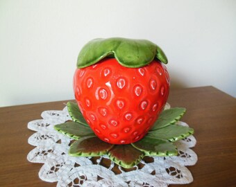 Vintage Ceramic Strawberry 3 piece lidded jar - jam jar - honey pot - sugar dish - candy dish - home decor