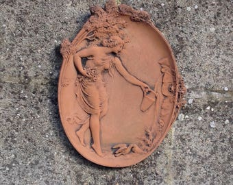 Decorative Terracotta Art Nouveau Style Garden Ornament Wall Plaque For  Indoor Or Outdoor Use   Ideal