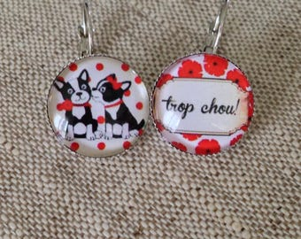 Earrings - small dogs - red - poppies