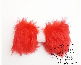 Fur Bow -Red Bow -White Bow - Christmas Bow - Santa Belt Hair Accessories - Girl Hair Clip - Red Glitter Bow - Baby Hair Bow - White Clip