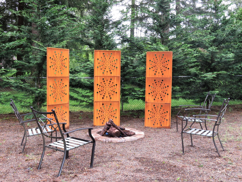 3 grand jardin panneaux intimité écran treillis rouillé Art en