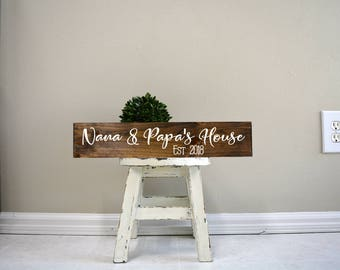 Grandparent House sign, Custom Grandparent name sign,  grandma grandpa sign, signs for the home, Custom wood signs, custom wood sign, custom