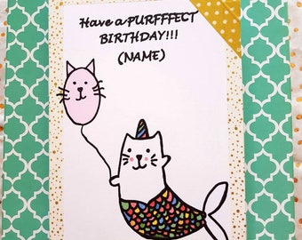 Hand drawn hand made cat catmaid mermaid cute catlover birthday card