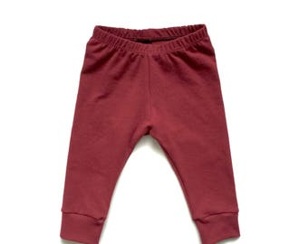 Baby & Toddler Cuffed Burgundy Maroon Leggings, baby leggings, toddler leggings, toddler girl fashion, toddler clothes