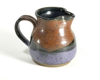 Mid century glazed ceramic studio pottery pitcher