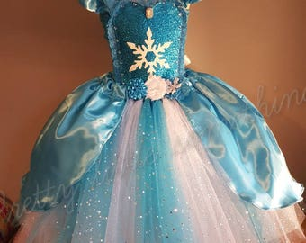Ice Princess tutu dress ball gown full length with satin overlay