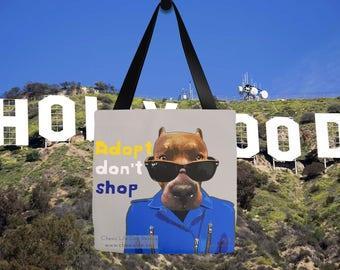 Dog tote bag, Adopt don't shop, Dog CHARITY tote bag, Adopt a pet, fashion tote bag, fancy tote bag, dog lover tote bag