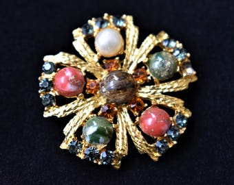 Vintage Marbled Stone Brooch Rhinestone Faux Pearl Coat Sweater Lapel Pin Retro Costume Jewelry 1.5""