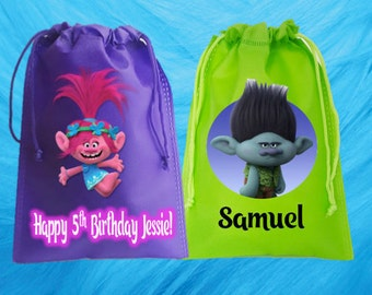 """TROLLS Party-15 Personalized Favor Bags, TROLLS Themed Party, Drawstring Bags 6.5"""" x 9""""  and 6""""x 8"""" nches"""