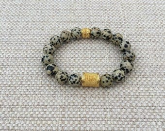 Dalmation Jasper Stretch Bracelet with Gold Plated Focal Bead