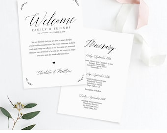 Welcome Letter and Itinerary, Wedding Schedule of Events, Agenda, Printable Welcome Bag Note, 100% Editable, Instant Download #034-107WB