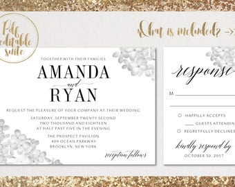 Wedding invitation template . Printable Wedding Invitation . Wedding Invitation Suite. Wedding Invitation Set. Printable PDF. Editable PDF