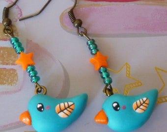 Earrings turquoise blue kawaii bird bronze metal clay polymer beads with seed beads and orange star