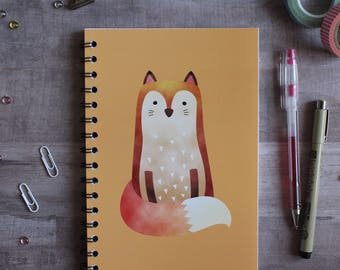 NOTEBOOK. A5 Cute Fox Spiral Notebook. Soft 300 gsm Card Cover. 120 lined pages. Matte lamination pleasant to the touch.