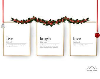 Set of 3 Prints Live Laugh Love Digital Download Print INSTANT DOWNLOAD Definition Print Live Laugh Love Definition Printable Wall Art Set