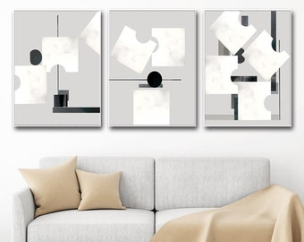 Geometric Modern Set of 3 Prints Gray Abstract Art Bedroom Decor Abstract Printable Triptych Wall Art Scandinavian Poster Black White Art