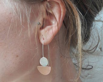 sterling silver and copper earrings,metalwork, copper, jewellery, handmade, unique, gift, contemporary jewellery,