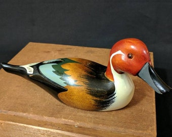 Vintage Decorative Pintail Drake Duck Decoy Wood Carving Figurine Wooden Sculpture International Reproductions Small Miniature Male Duck