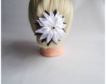 Satin Flower Hairclip/Hairclip with Kanzashi Flower white and black/Satin Hair accessory/Up to 160 Custom Colors