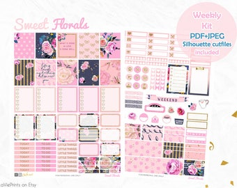 Printable Planner Stickers, Floral planner stickers, use with Erin Condren, Cut files, pink, school, college, glitter, glam planner, chic